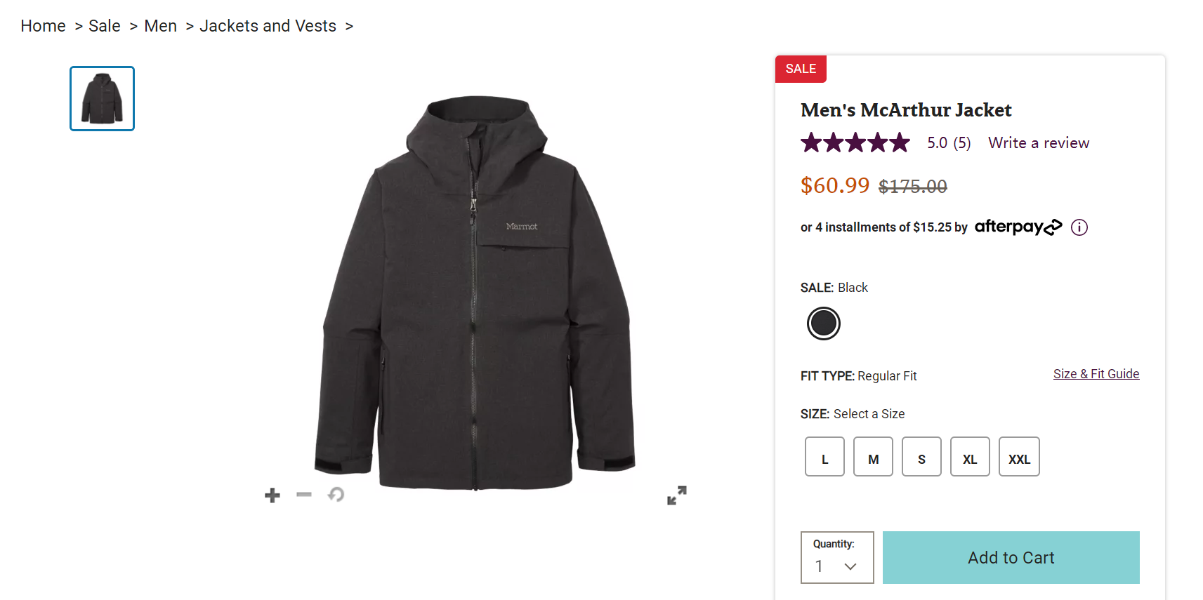 Marmot美国官网McArthur男士夹克,优惠价$60.99