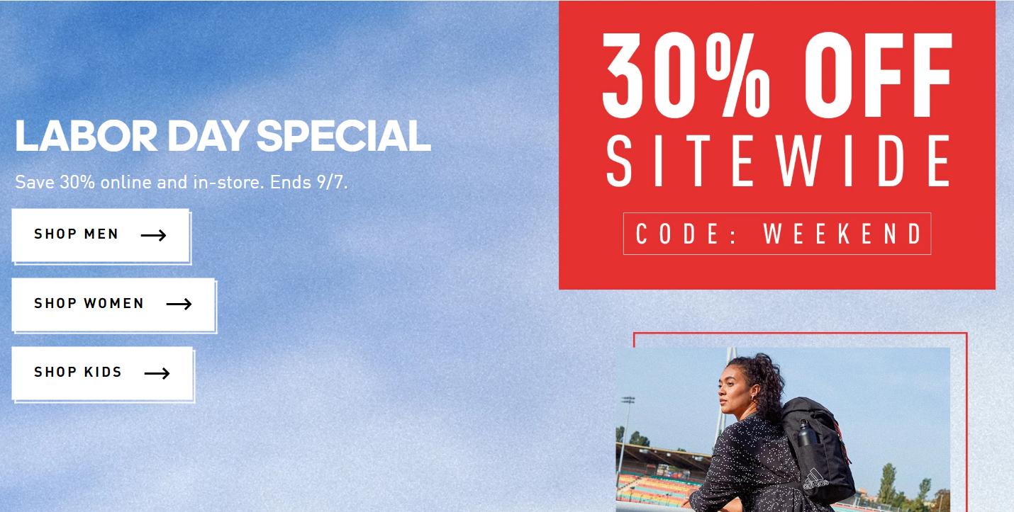 adidas美国官网劳工节大促,全场运动鞋服低至5折+额外7折
